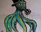 "Print 5x7"" - 1910 (6 legs)  - Octopus Gas Mask Top Hat Victorian Steampunk Surreal Fantasy Dark Art Gothic Creature Monster"
