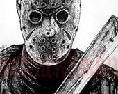 "Print  8x10"" - Jason - Friday the 13th Horror Slasher 80s Jason Voorhees Scary Movie 1980's Freddy Halloween Death Serial Killer Evil"