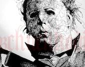 Michael Myers - Original Drawing - Halloween knife Jason Voorhees Scary Movie 1980's Freddy Krueger Jason Death Serial Killer Evil Die Pop