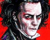 "Print 8x10"" - Sweeney Todd - Johnny Depp Tim Burton Barber Shop Victorian Gothic Edwardian Spooky Fantasy Sideburns Red Murder Death"