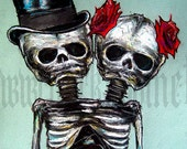 "Print 8x10"" - Couple Skeletons Skull Top Hat Roses Flowers Halloween Day of the dead Gothic Wedding Love Conjoined Twins Sideshow"