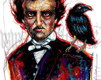 "Print 11x14"" - Edgar Allan Poe - Raven Nevermore Poem Poetry Gothic Haunted Bird Crow Victorian Haunted Antique Books Dark Art Murder"