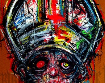 """Print 8x10"""" - The Pope - Surreal Dark Art Abstract Horror Monster Creature Alien Zombie Gothic God Nun Jesus Cross Blood Red Scary Pop"""