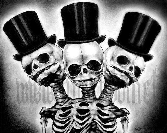 "Print 8x10"" - Three - Skull Skeleton Top Hat Gothic"