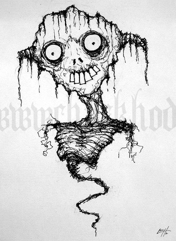 What did you expect me to look like - Original drawing - Dark Art Horror Alien Zombie Creature Monster Eyes Teeth