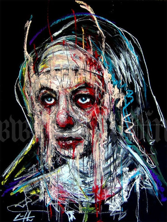 "Print 8x10"" - Nun - Dark Art Lowbrow Abstract Surreal Red Bible Cross Blood Gothic Horror"
