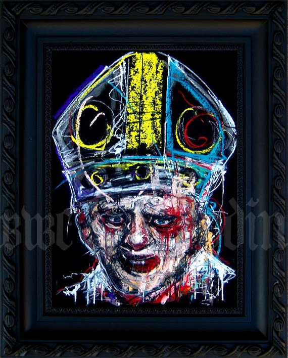 Pope - Original Drawing - Abstract Surreal God Bible Horror Dark Art Blood Red Nun Gothic Cross Holy