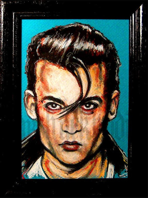 Cry Baby - Original Drawing - Johnny Depp John Waters Cult Greaser Rockabilly Movie Ricki Lake Elvis Tracy Lords Comedy Hot Rod Drape Square