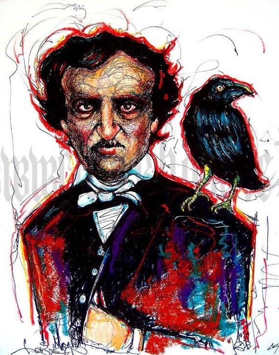"""Print 11x14"""" - Edgar Allan Poe - Raven Nevermore Poem Poetry Gothic Haunted Bird Crow Victorian Haunted Antique Books Dark Art Murder"""