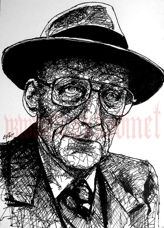 William S Burroughs - Original Drawing - Naked Lunch Cyberpunk Glasses Drugs Science Fiction Needle Junkie Hipster Nerd Pop Art Gun Beatnik