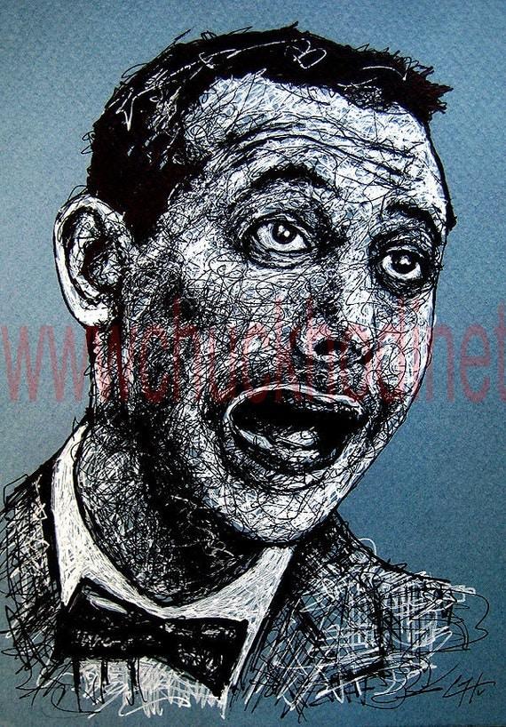 Pee Wee Herman - Orignial Drawing Portrait Pop Art Paul Reubens Cult Funny Cute Show Vintage 80s 1980s Gay Lowbrow