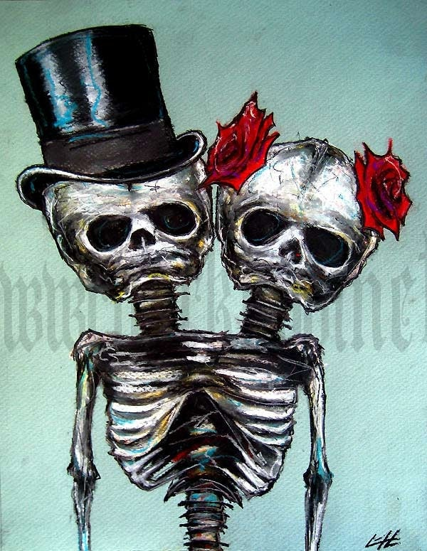 Print 8x10 Couple Skeletons Skull Top Hat Roses
