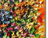 Original Oil Painting Flowers ART B. Sasik Palette knife Impasto
