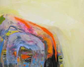 Inside a contemporary minimalist abstract painting on panel