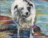 ACEO giclee print Jack Russell Terrier Dog at the beach