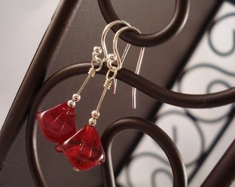 Sterling Silver Red Flower Drop Earrings