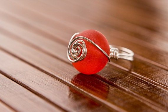 Sterling Silver Wire Wrapped Ring with Big Red Bead