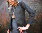 BASALT-Weathered Charcoal Asymmetrical Canvas Jacket