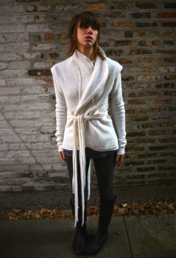 White Wisp-Bolied Wool Wrap