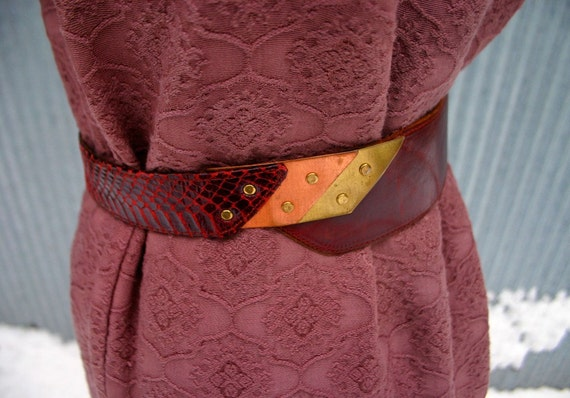 Vintage Asymmetrical Leather Belt with Snakes Skin And Mixed Metal Accents (S/M/L)-Free Shipping