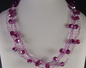 Crochet wire necklace with rosy pink Swarovski crystals