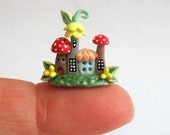 Miniature Fairy Toadstool House Colony OOAK by artist C. Rohal