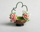 Miniature Fairy Flower Vine and Ribbons Basket OOAK by C. Rohal