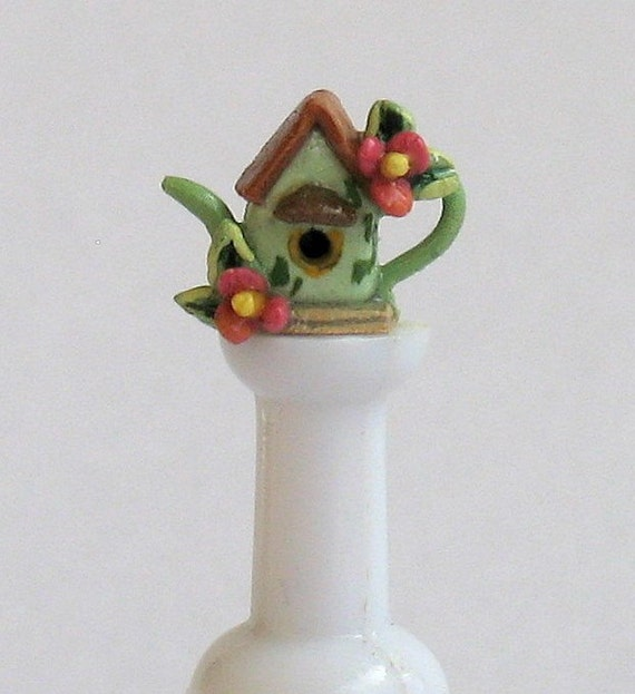 OOAK 1\/4 scale Miniature Birdhouse Teapot by artist C. Rohal