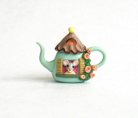 Miniature Petite Mouse House Teapot OOAK by C. Rohal
