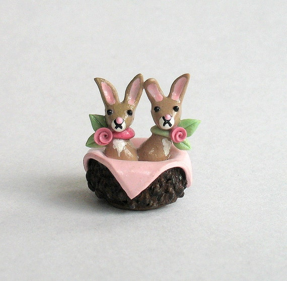 Miniature Shabby Baby Bunny Rabbits in Basket OOAK by C. Rohal