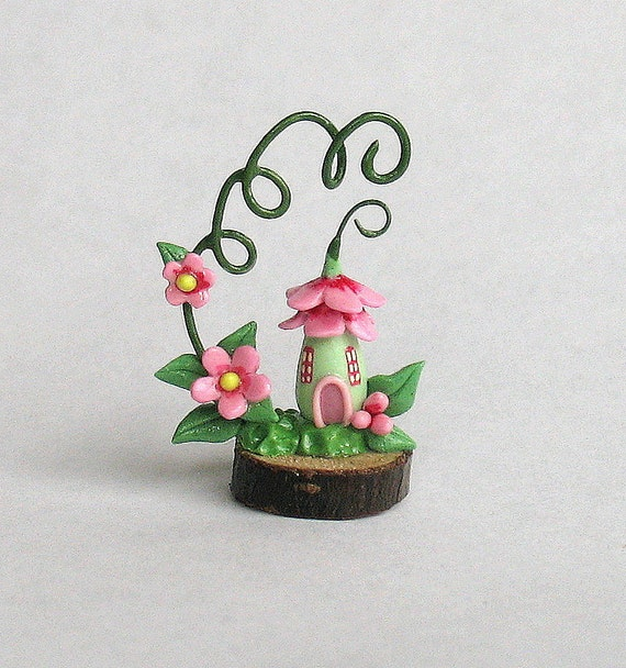 Miniature Whimsy Fairy Blossom Vine House OOAK by C.Rohal