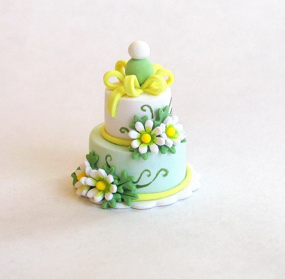 Miniature Tiered Daisy and Bow Cake OOAK by C. Rohal