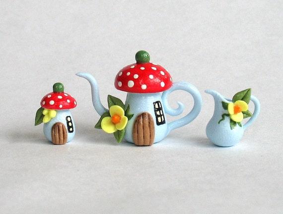 Miniature Fairy Toadstool House Tea Set  OOAK by C. Rohal