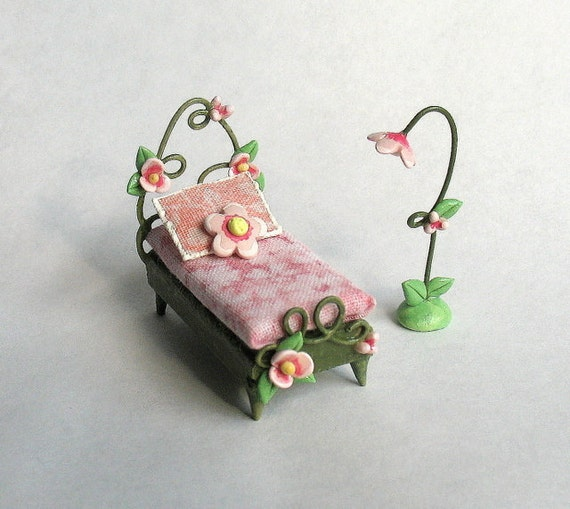 1/4 scale Miniature Fairy Bed and Lamp Set OOAK by C.Rohal