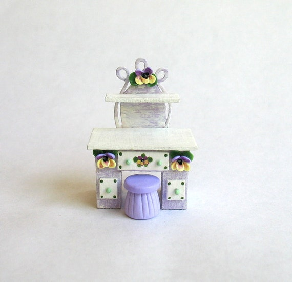 1/4 scale Miniature Hand Painted Pansy Desk or Dressing Table with Stool OOAK by C.Rohal