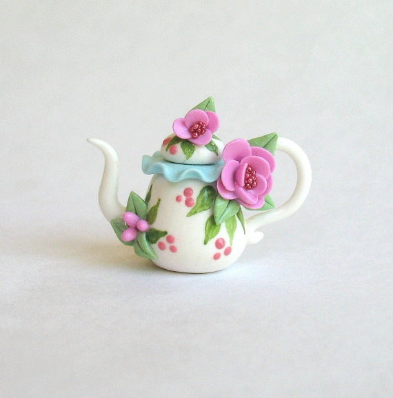 Miniature Jeweled Blossoms and Ruffle Rimmed Teapot OOAK by C. Rohal
