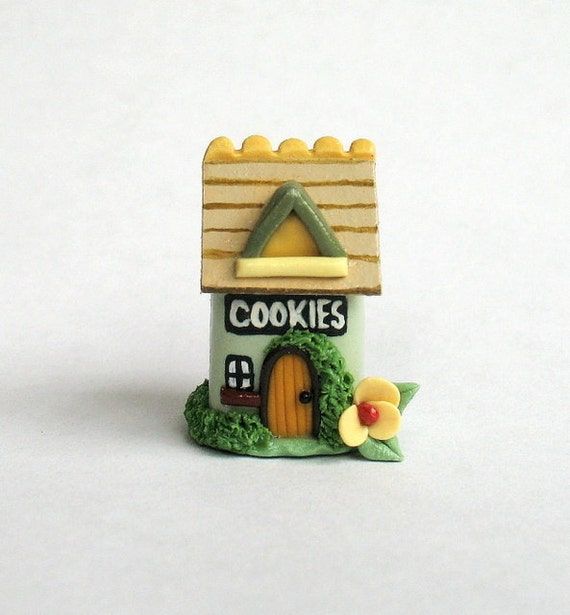 Miniature Cottage House Cookie Jar with Flip Top OOAK by C. Rohal