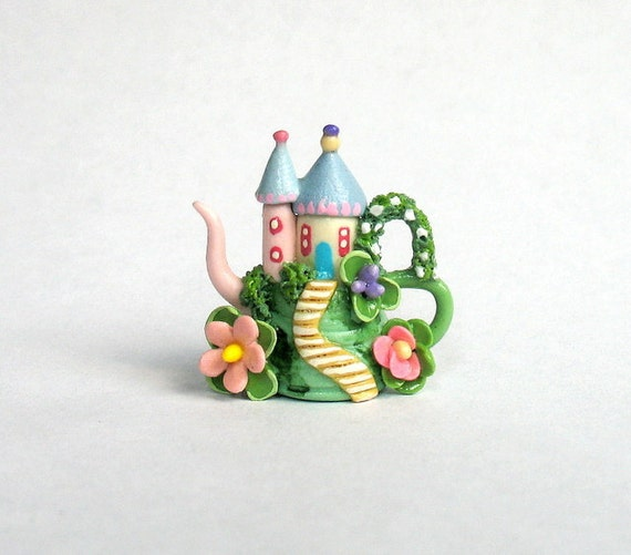 Miniature Fairy Castle Cottage on Hill Teapot OOAK by C. Rohal