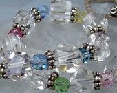 Rock Quartz Bracelet in Sterling Silver with Swarovski Crystals - Sherbet - SALE