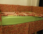 READY TO SHIP - Handmade Baby Crib Bedding Set - Paisley - Flowers - Stripes - 5 pieces