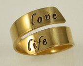 Adjustable Gold Filled Message Ring by donnaodesigns