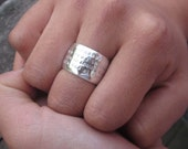 Hand Stamped Wide Dome Ring by donnaodesigns