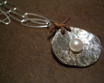 Organic Sterling Disc with Pearl and Leather Necklace by donnaodesigns