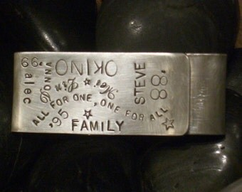 Hand Stamped Sterling Double-Sided Money Clip by donnaodesigns