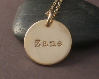 Hand Stamped Gold Filled Name Necklace by donnaodesigns