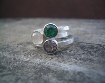 Custom Stacking Ring Set with Birthstones for aschacher20