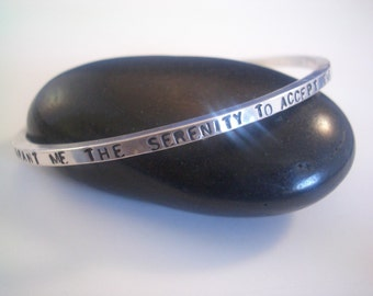 Serenity Prayer Sterling Cuff Bangle Bracelet by donnaodesigns