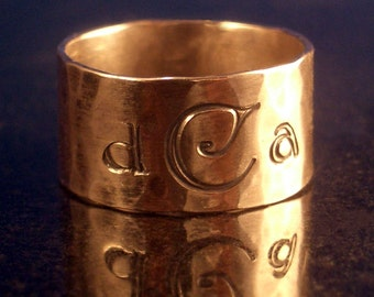 Monogrammed 14kt Gold Band by donnaodesigns