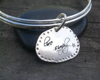 Hand Stamped Charm on Bangle/Bracelet Set by donnaodesigns