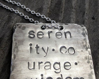 Sale Serenity Courage Wisdom Tag Necklace by donnaodesigns